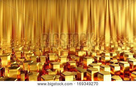 Abstract background pentagonal gold bars. 3d illustration