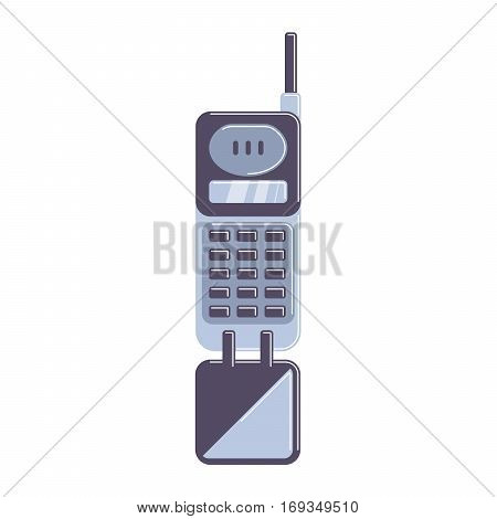 Isolated flip phone on white background. Old-fashioned technology. Old school.