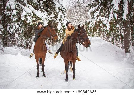 Twin Sisters And Horse In The Winter Forest