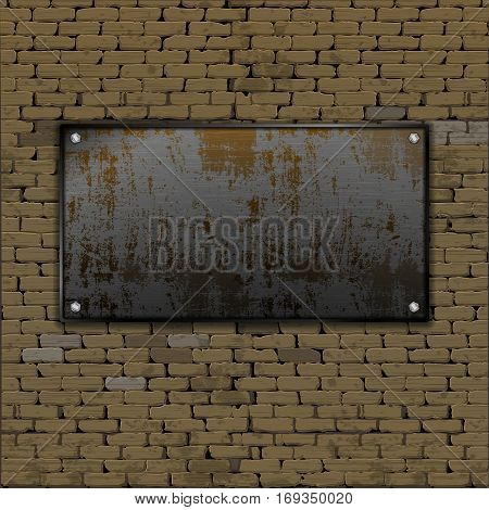 Realistic old brick wall with a blank sheet of rusty metal, screwed on the bolts. There is a place for a picture or text in any color.