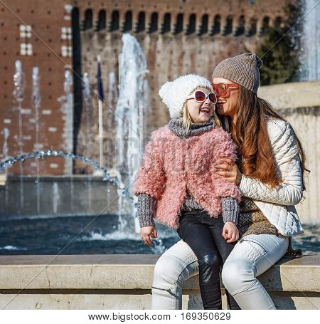 Mother And Child Tourists In Milan, Italy Having Fun Time
