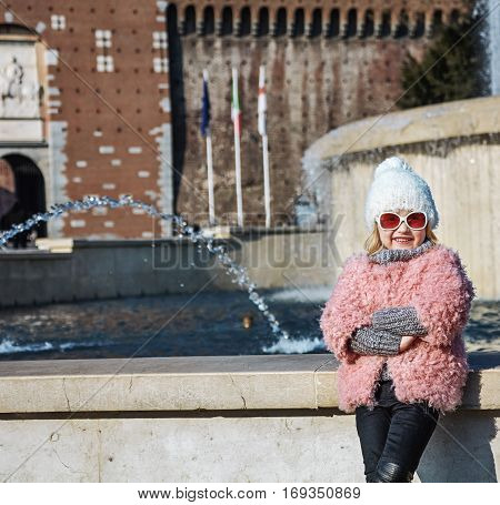 Smiling Trendy Girl In Milan, Italy