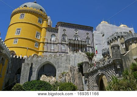 Beautiful view of Pena Palace, Sintra. PORTUGAL.