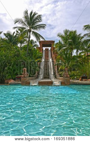 NASSAU & PARADISE ISLAND, BAHAMAS - September 11, 2015: Water Slide, Aquaventure Water Park at Atlantis Paradise Island, Nassau.