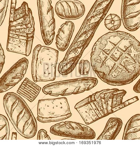 Vector seamless pattern with different breads bakery products and sweet pastries. illustration background in ink hand drawn style.