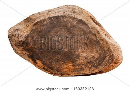 close up of an empty wooden sign on white background with clippingpath