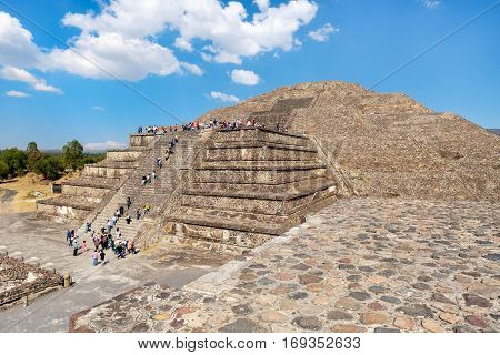The Pyramid of the Moon and other pre-columbian structures at Teotihuacan, a major archaeological site near Mexico City