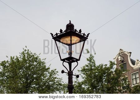 Old fashioned street lamp in Amsterdam Nederland