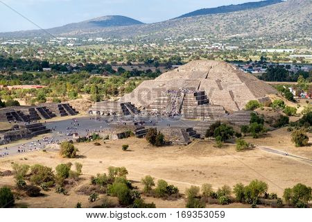 View of the Pyramid of the Moon and the Avenue of the Dead  at Teotihuacan from the top of the Pyramid of the Sun