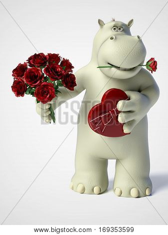 3D rendering of romantic cartoon hippo holding a red heart shaped chocolate box in one hand and a bouquet of roses in the other hand and a rose in his mouth. White background.