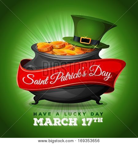 Illustration of a happy st. patrick's day background with wishes text big cauldron green pilgrim hat golden coins and banner