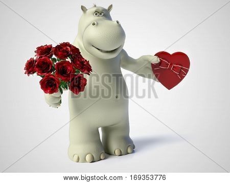 3D rendering of romantic cartoon hippo holding a red heart shaped chocolate box in one hand and a bouquet of roses in the other hand. White background.