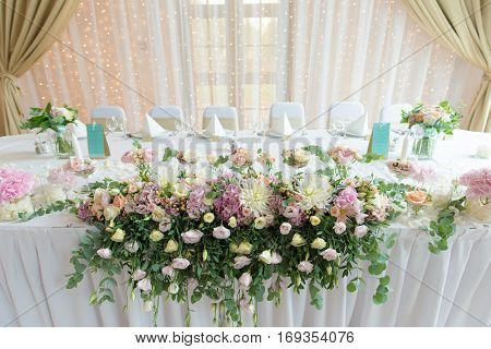 Flower decoration at wedding reception