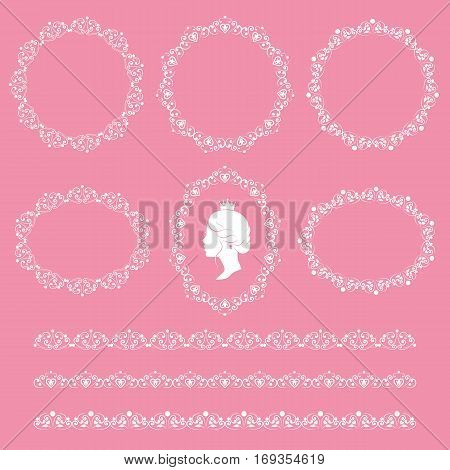 Set collections of cameo featuring the silhouette of a woman vintage lacy borders and frames. White cute elegant elements isolated on pink background. Vector illustration