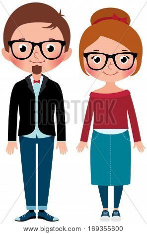 Boyfriend and girlfriend young couple man and woman dressed as hipsters Stock Vector cartoon illustration