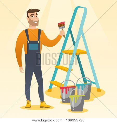 Male house painter holding a paintbrush. House painter with paintbrush in hand standing near step-ladder and paint cans. Concept of house renovation. Vector flat design illustration. Square layout. poster