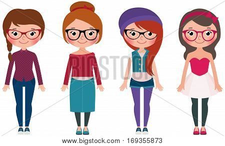 Women hipster fashion set four girls in different clothes Stock vector illustration