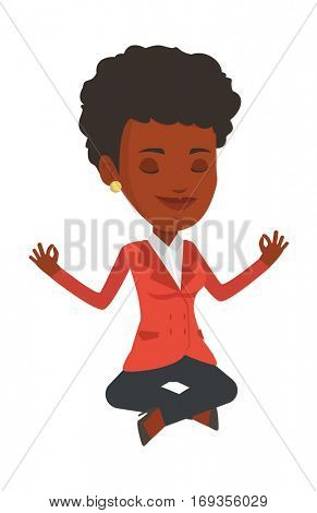 African business woman doing yoga in lotus pose. Business woman meditating in yoga lotus pose. Business woman sitting in yoga lotus pose. Vector flat design illustration isolated on white background.