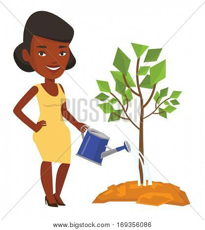 African-american business woman watering trees of three sizes. Young businesswoman watering plants. Business growth and investment concept. Vector flat design illustration isolated on white background