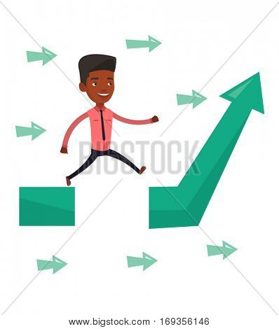 An african businessman coping with business obstacle successfully. Businessman facing with business obstacle. Business obstacle concept. Vector flat design illustration isolated on white background.
