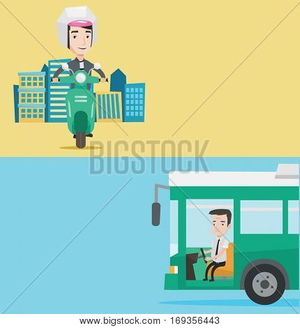 Two transportation banners with space for text. Vector flat design. Horizontal layout. An adult driver sitting at steering wheel. Caucasian driver driving passenger bus. Driver driving intercity bus