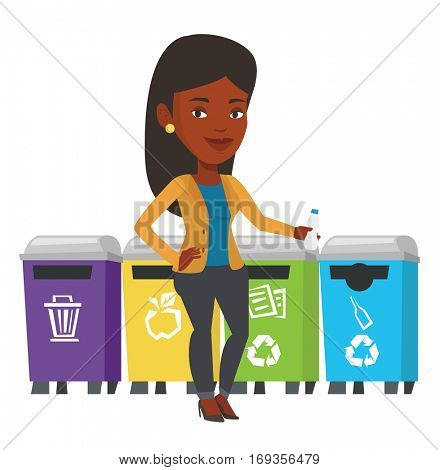 Girl throwing away plastic bottle. Girl standing near four bins and throwing away plastic bottle in appropriate bin. Waste sorting plastic. Vector flat design illustration isolated on white background