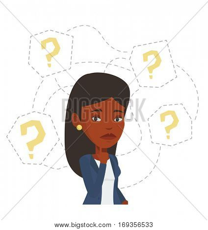 African-american businesswoman thinking. Thinking businesswoman standing under question marks. Thinking woman surrounded by question marks. Vector flat design illustration isolated on white background