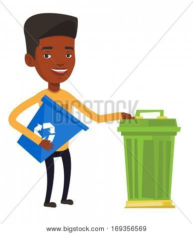African-american man holding recycling bin while standing near a trash can. Young man carrying recycling bin. Waste recycling concept. Vector flat design illustration isolated on white background.