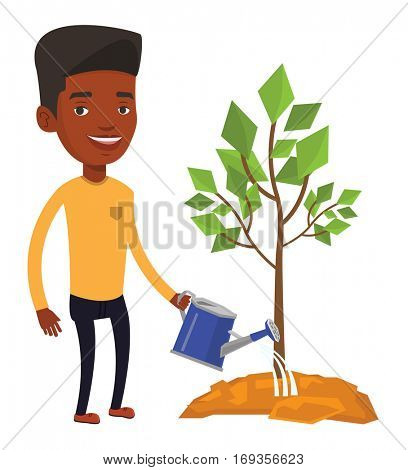 African-american businessman watering trees of three sizes. Young businessman watering plants. Business growth and investment concept. Vector flat design illustration isolated on white background