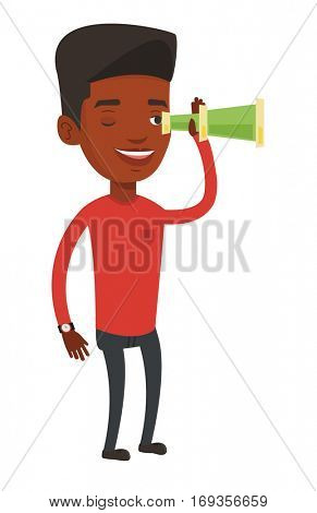 African businessman searching for opportunities. Businessman using spyglass for searching of opportunities. Business opportunities concept. Vector flat design illustration isolated on white background