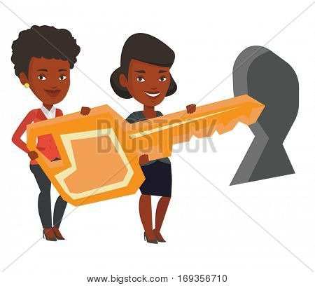 Business women standing in front of a keyhole with big key. Business team holding the key to success. Two women carrying huge gold key. Vector flat design illustration isolated on white background.