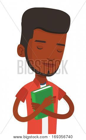 African-american student likes read books. Student hugging his book. Happy student with eyes closed holding a book. Concept of education. Vector flat design illustration isolated on white background.