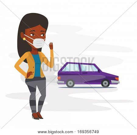 African-american woman standing on the background of car with traffic fumes. Woman wearing mask to reduce the effect of traffic pollution. Vector flat design illustration isolated on white background.