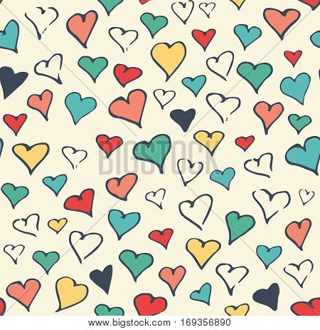Seamless Festive Love Abstract Pattern with Hand Drawn Hearts on White Background