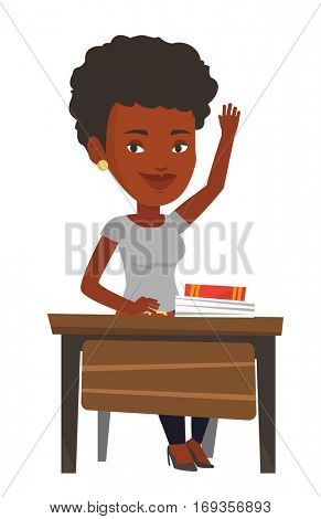 Student raising hand in the classroom for an answer. Student sitting at the desk with raised hand. Happy schoolgirl raising hand at lesson. Vector flat design illustration isolated on white background