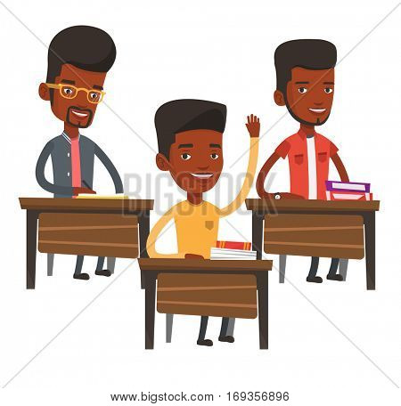 Student raising hand in the classroom for an answer. Student sitting at the desk with raised hand. Schoolboy raising his hand at lesson. Vector flat design illustration isolated on white background.