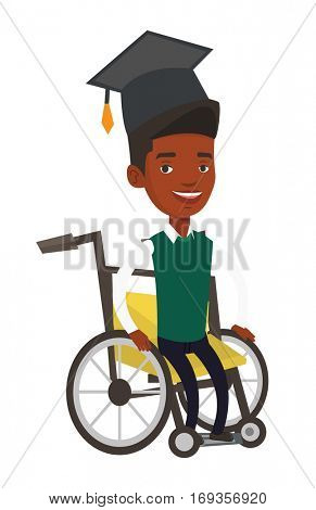 Young smiling arican-american graduate sitting in wheelchair. Disabled happy graduate in graduation cap sitting in wheelchair. Vector flat design illustration isolated on white background.
