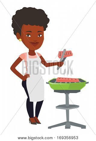 An african-american woman cooking steak on the barbecue grill. Woman preparing steak on the barbecue grill. Woman having outdoor barbecue. Vector flat design illustration isolated on white background.
