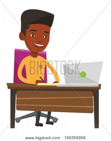 African-american man working on laptop and writing notes. Student sitting at the table with laptop. Student using laptop for education. Vector flat design illustration isolated on white background.