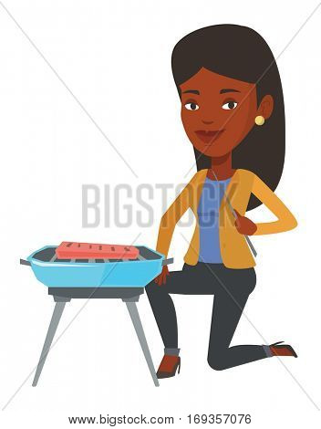 African-american woman cooking meat on the barbecue grill outdoors. Young woman having a barbecue party. Smiling woman preparing barbecue. Vector flat design illustration isolated on white background.