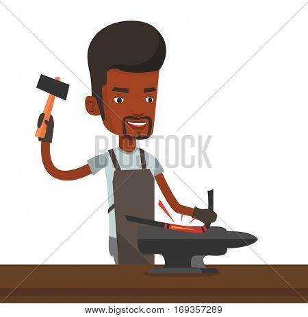 Blacksmith working metal with hammer on the anvil in the forge. Blacksmith at work in smithy. Blacksmith forging the molten metal on anvil. Vector flat design illustration isolated on white background