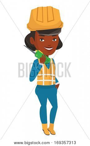 African-american female port worker in hard hat talking on wireless radio. Smiling port worker in helmet using wireless radio. Vector flat design illustration isolated on white background.
