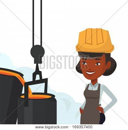 African steelworker at work in the foundry. Steelworker controlling iron smelting in the foundry. Steelworker in steel making plant. Vector flat design illustration isolated on white background.