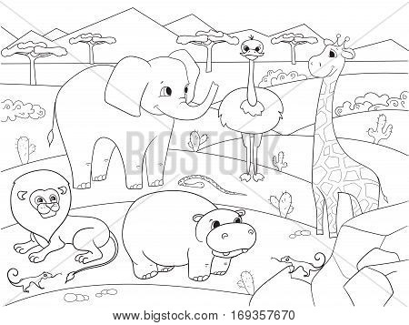 Animals of Africa savanna coloring book for adults vector illustration. For adult giraffe, lion, tiger, hippopotamus, lizard, elephant, nature, snake and ostrich. Black and white lines Lace pattern