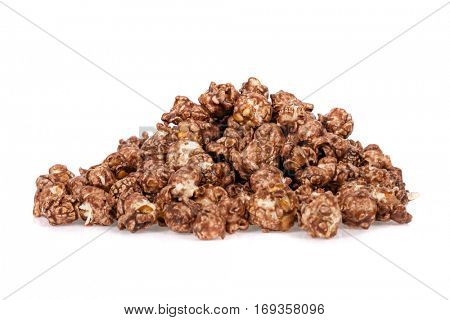 Popcorns flavored with sweet chocolate and mint piled up and isolated on white background