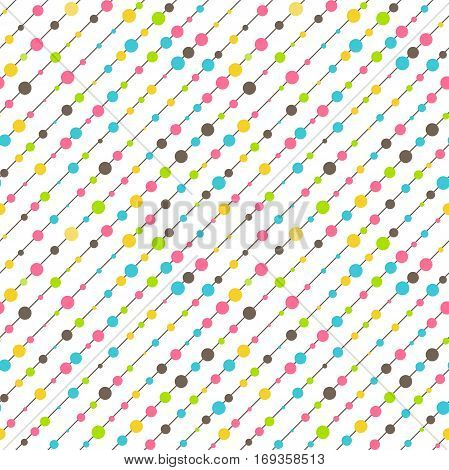 Seamless Fun Abstract Diagonal Pattern Isolated on White Background