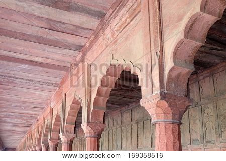 AGRA, INDIA - FEBRUARY 14: A Mughal passage in the Taj Mahal (Crown of Palaces), an ivory-white marble mausoleum on the south bank of the Yamuna river in Agra, Uttar Pradesh, India on February 14,2016