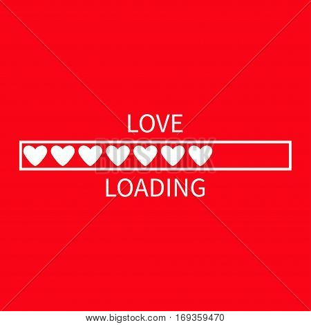 Progress status bar icon. Love loading collection. White heart. Funny happy valentines day element.Web design app download timer. Red background. Flat trendy object. Isolated. Greeting card. Vector
