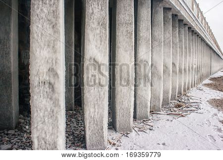 columns covered with ice on seacoast on cold gloomy winter day