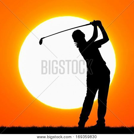 a silhouettes of golfer with sunset background